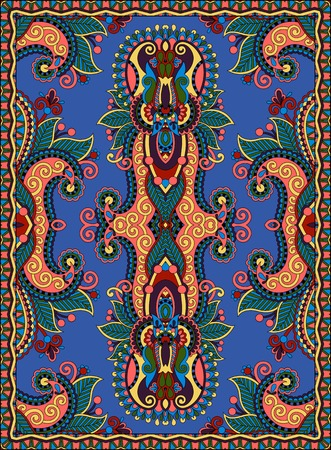 ultramarine: ukrainian floral carpet design for print on canvas or paper in ultramarine color, karakoko style ornamental pattern, vector illustration Illustration