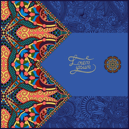 ultramarine: oriental decorative template for greeting card or wedding invitation in a folk style, you can place your text in the empty place in ultramarine color, vector illustration