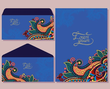ultramarine: special beautiful design for greeting card and envelopes with place for your text in ultramarine color, vector illustration