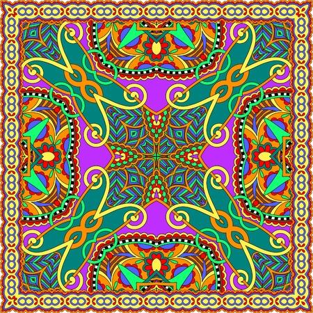 robo: bufanda de seda o patrón de diseño cuadrado pañuelo en estilo karakoko ucraniano para imprimir sobre tela, ilustración vectorial