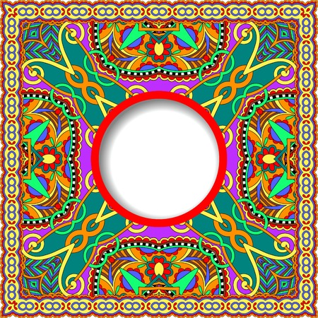 kilim: floral round pattern in ukrainian oriental ethnic style for your greeting card or invitation, template frame design for card, vintage lace doily, vector illustration