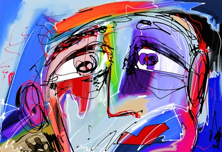 original abstract digital painting of human face, colorful composition in contemporary modern art, perfect for interior design, page decoration, web and other, vector illustration Stock Vector - 36125644