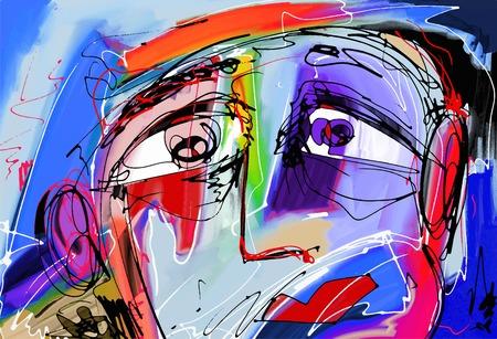 Oryginalny abstrakcyjne cyfrowy obraz ludzkiej twarzy, kolorowe skład współczesnej sztuki nowoczesnej, idealne do aranżacji wnętrz, dekoracji strony, stron internetowych i innych, ilustracji wektorowych