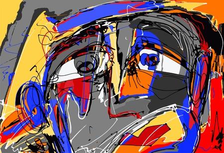 人間の顔の元の抽象的なデジタル絵画、現代現代美術、インテリア デザイン、ページ装飾、web などに最適なカラフルな組成ベクトル イラスト