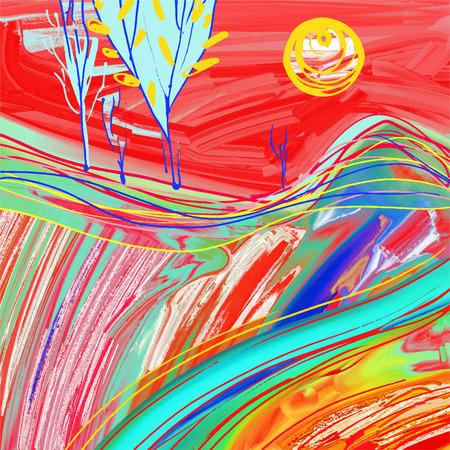 digital painting of red sunset landscape, creative artwork inspiration, modern impressionism, vector illustration Illustration
