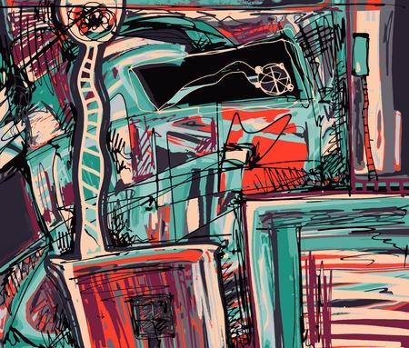 Pittura digitale originale della composizione astrazione, è possibile utilizzare questa stampa d'arte in interni, il design del tessuto, decorazione pagina, imballaggio, libro d'arte e altro, illustrazione vettoriale Archivio Fotografico - 36126093