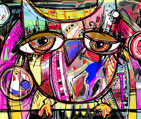 abstract painting: original abstract digital painting artwork of doodle owl, colored poster print pattern, vector illustration Illustration