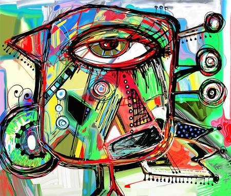 arte finala digital abstrata original da pintura do pássaro do doodle, teste padrão colorido da cópia do cartaz, ilustração do vetor