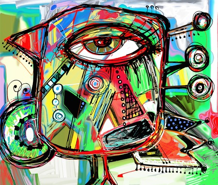abstrakte muster: urspr�ngliche abstrakte digitale Malerei Kunstwerk von doodle Vogel, farbige Poster drucken Muster, Vektor-Illustration