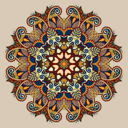 beige colour mandala, circle decorative spiritual indian symbol of lotus flower, round ornament pattern, vector illustration Vector