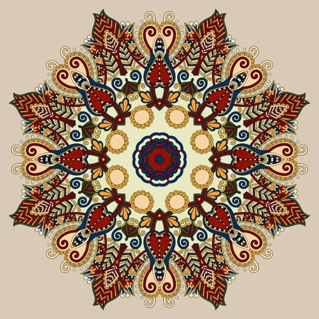 manipura: beige colour mandala, circle decorative spiritual indian symbol of lotus flower, round ornament pattern, vector illustration