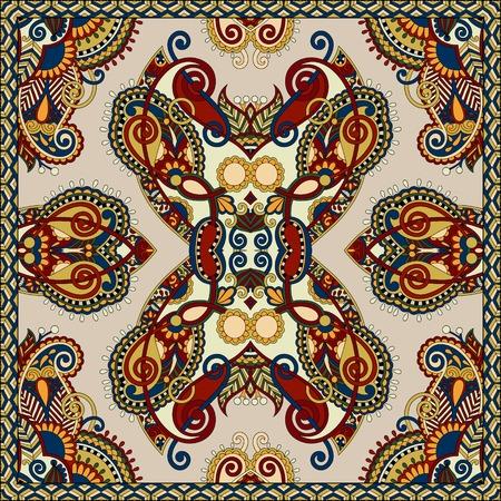silk neck scarf or kerchief square pattern design in ukrainian karakoko style for print on fabric, vector illustration in beige colour Illustration