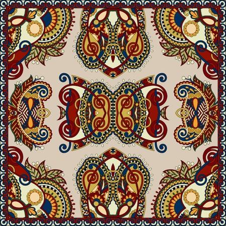 ascot: silk neck scarf or kerchief square pattern design in ukrainian karakoko style for print on fabric, vector illustration in beige colour Illustration