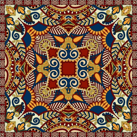 kerchief: Traditional ornamental floral paisley bandanna. Square ornament. You can use this pattern in the design of carpet, shawl, pillow, cushion, beige colour Illustration