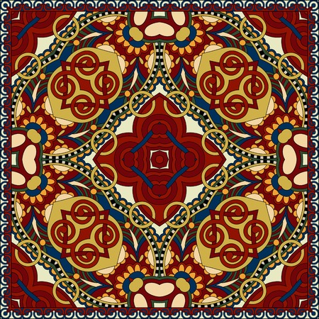 western border: Traditional ornamental floral paisley bandanna. Square ornament. You can use this pattern in the design of carpet, shawl, pillow, cushion, beige colour Illustration