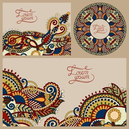 set of floral decorative background, template frame design for card, brochure, book, business card, postcard, wedding invitation, banner, CD design, beige colour Vector