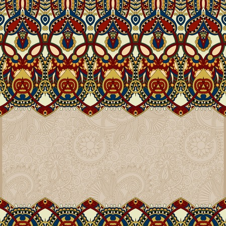 ornamental floral folkloric background for invitation, cover design, fabric pattern or page decoration, ethnic border on vintage flower background in beige colour Vector
