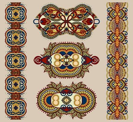adornment: ornamental ethnic floral adornment, vector illustration in beige colour Illustration