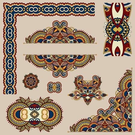 set of paisley floral design elements for page decoration, frame, corner, divider, circle snowflake, stripe pattern, vector illustration in beige colour Illustration