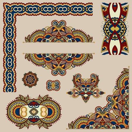 set of paisley floral design elements for page decoration, frame, corner, divider, circle snowflake, stripe pattern, vector illustration in beige colour Ilustração
