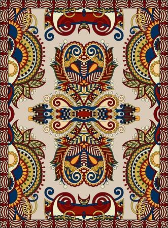 floral carpet: ukrainian floral carpet design for print on canvas or paper, karakoko style ornamental pattern, vector illustration in beige colour
