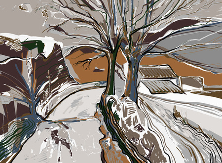 brushwork: digital painting of winter landscape, vector illustration Illustration
