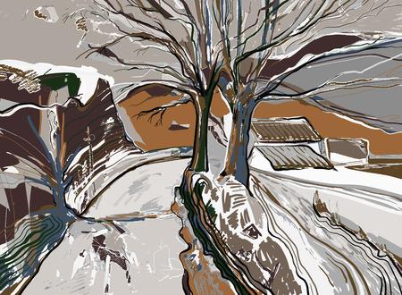 digitale Malerei Winterlandschaft, Vektor-Illustration Vektorgrafik