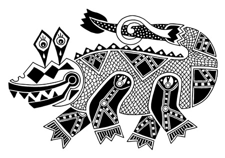 black and white authentic original decorative drawing of crocodile, vector illustration on white background Vector