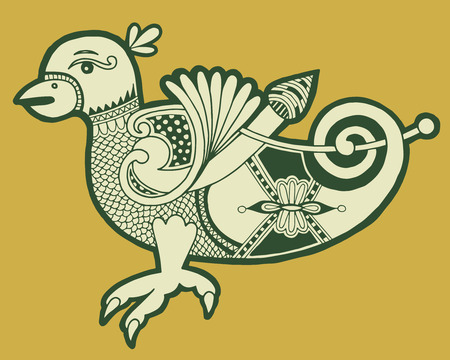 bird  celtic: authentic decorative celtic bird, ethnic vector illustration Illustration