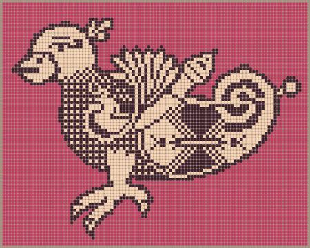bead embroidery: original ethnic pixel bird design in folk style for cross stitch embroidery or sewing by a bead and other needlework hobby, vector illustration