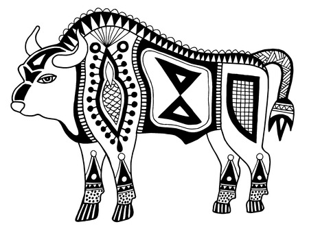 indian buffalo: black and white original ethnic tribal bison drawing, authentic vector illustration isolated on white background