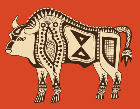 indian buffalo: original ethnic tribal bison drawing, authentic vector illustration Illustration