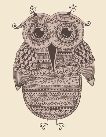 original: original ethnic owl ink drawing, vector illustration