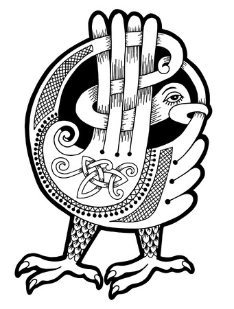 pagan: black and white authentic celtic bird, ethnic vector illustration