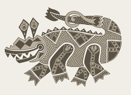 tribal dragon: authentic original decorative drawing of crocodile, vector illustration