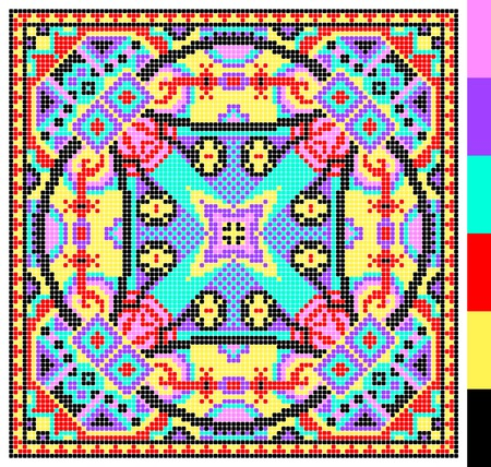 kilim: geometric square pattern for cross stitch ukrainian traditional embroidery, who like hand made and creation, pixel ornamental vector illustration Illustration