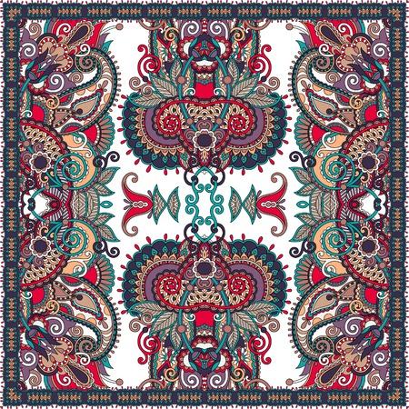 silk scarf: silk neck scarf or kerchief square pattern design in ukrainian karakoko style for print on fabric, vector illustration