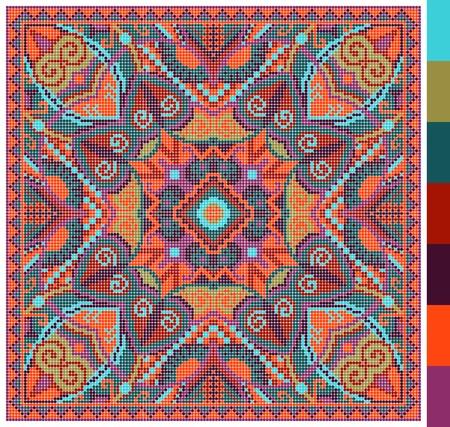 punto croce: Reticolo quadrato geometrico per il punto croce ricamo tradizionale ucraino, che, come ha fatto a mano e la creazione, pixel ornamentali illustrazione vettoriale