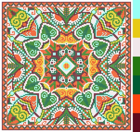 cross stitch: geometric square pattern for cross stitch ukrainian traditional embroidery, who like hand made and creation, pixel ornamental vector illustration Illustration