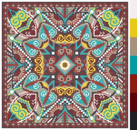 punto cruz: Modelo cuadrado geom�trico de punto de cruz bordado tradicional ucraniano, que como hecho a mano y de la creaci�n, pixel ornamental ilustraci�n vectorial