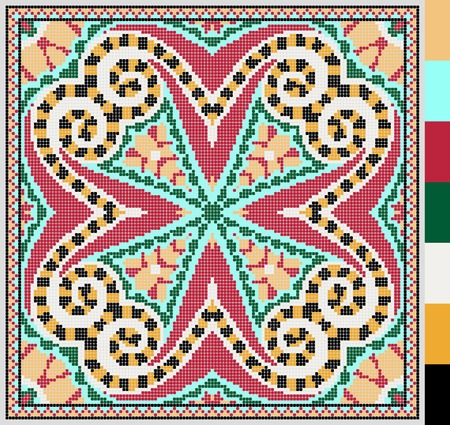 stitches: geometric square pattern for cross stitch ukrainian traditional embroidery, who like hand made and creation, pixel ornamental vector illustration Illustration