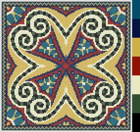 punto cruz: Modelo cuadrado geométrico de punto de cruz bordado tradicional ucraniano, que como hecho a mano y de la creación, pixel ornamental ilustración vectorial