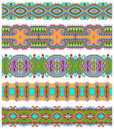 polygraphy: seamless ethnic floral paisley stripe pattern, border set, ukrainian tribal ornament for print or embroidery ribbon, or for the design of polygraphy or web