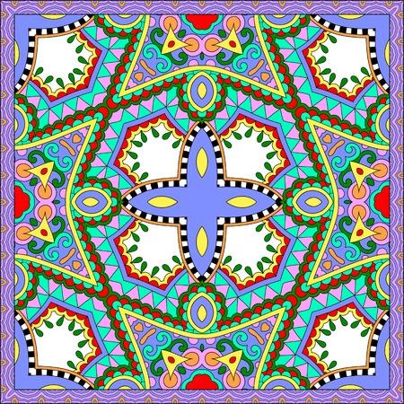 kopftuch: Seidenhalstuch oder Taschentuch quadratisches Muster-Design in der ukrainischen karakoko Stil f�r den Druck auf Stoff, Vektor-Illustration