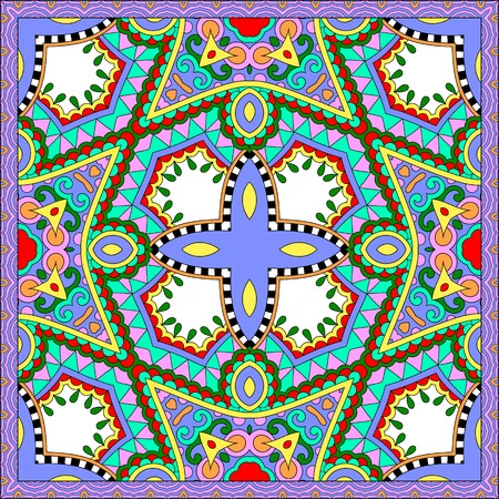 headscarf: silk neck scarf or kerchief square pattern design in ukrainian karakoko style for print on fabric, vector illustration