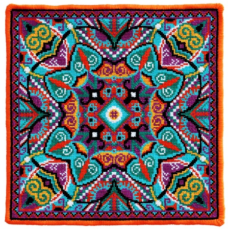 oriental rug: ukrainian authentic embroidery carpet, handmade cross-stitch geometric artwork