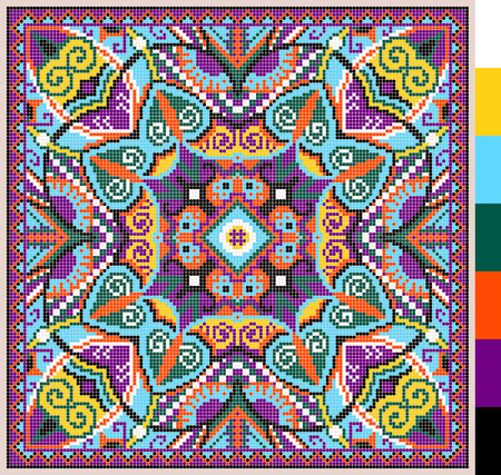 geometric square pattern for cross stitch ukrainian traditional embroidery, who like hand made and creation, pixel ornamental vector illustration Иллюстрация
