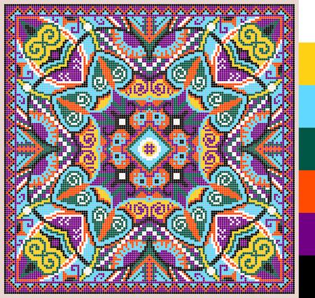 Geometrischen quadratischen Muster für Kreuzstich ukrainischen traditionellen Stickereien, die handgemacht und Schaffung möchten, Pixel ornamentalen Vektor-Illustration Standard-Bild - 37266394