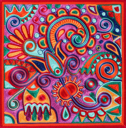 authentic ukrainian yarn painting - ancient and traditional technic of artwork creation, flower design 스톡 콘텐츠