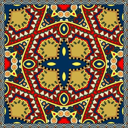 sarong: silk neck scarf or kerchief square pattern design in ukrainian karakoko style for print on fabric, vector illustration